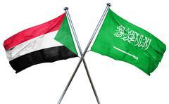 Sudan flag with Saudi Arabia flag, 3D rendering Stock Illustration