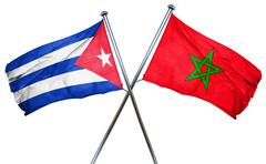 Cuba flag with Morocco flag, 3D rendering - stock illustration