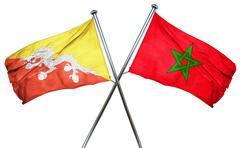 Bhutan flag with Morocco flag, 3D rendering - stock illustration