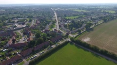 Aerial flyover UK suburb Stock Footage