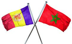 Andorra flag with Morocco flag, 3D rendering - stock illustration