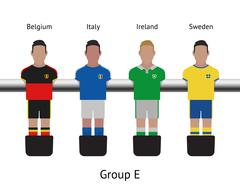 Table football game. foosball soccer player set. Belgium, Italy, Ireland, Sweden - stock illustration