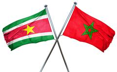 Suriname flag with Morocco flag, 3D rendering - stock illustration
