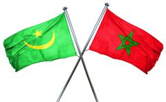 Mauritania flag with Morocco flag, 3D rendering - stock illustration