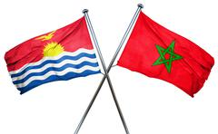 Kiribati flag with Morocco flag, 3D rendering - stock illustration