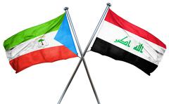 Equatorial guinea flag with Iraq flag, 3D rendering - stock illustration