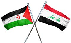 Western sahara flag with Iraq flag, 3D rendering Stock Illustration