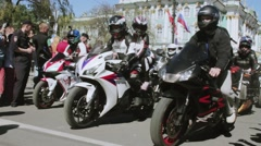 Bikers parade and show. Night Wolves MG Russia Stock Footage