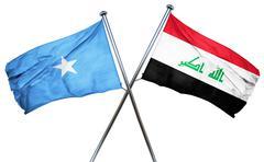 Somalia flag with Iraq flag, 3D rendering - stock illustration