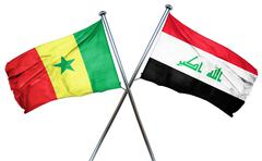 Senegal flag with Iraq flag, 3D rendering - stock illustration