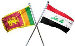 Sri lanka flag with Iraq flag, 3D rendering - stock illustration