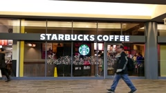 One side of Starbucks coffee in Burnaby BC Canada. Stock Footage