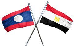 Laos flag with Egypt flag, 3D rendering - stock illustration