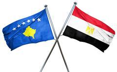 Kosovo flag with Egypt flag, 3D rendering - stock illustration