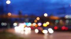 Blur motion of driving car in city at night with 4k resolution. Stock Footage