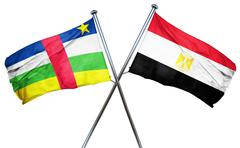Central african republic flag with Egypt flag, 3D rendering - stock illustration