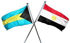 Bahamas flag with Egypt flag, 3D rendering Stock Illustration