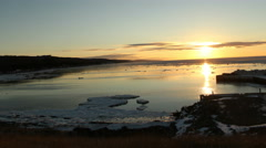 Northern Ice Flows Beach Sunset- Winter Timelapse Livingston Cove, Nova Scotia Stock Footage