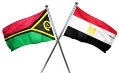 Vanatu flag with Egypt flag, 3D rendering - stock illustration