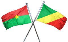 Burkina Faso flag with Congo flag, 3D rendering Stock Illustration