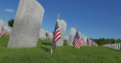 American Flag Decoration in the National Cemetery for Memorial Day Celebration Stock Footage