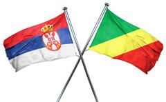 Serbia flag with Congo flag, 3D rendering - stock illustration