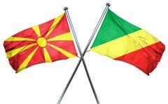 Macedonia flag with Congo flag, 3D rendering Stock Illustration