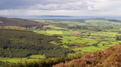 View towards Dublin from hilltop in Wicklow Mountains National Park. Stock Footage