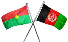 Burkina Faso flag with Afghanistan flag, 3D rendering - stock illustration