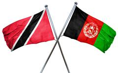 Trinidad and tobago flag with Afghanistan flag, 3D rendering Stock Illustration