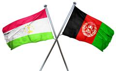 Tajikistan flag with Afghanistan flag, 3D rendering - stock illustration