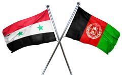Syria flag with Afghanistan flag, 3D rendering Stock Illustration