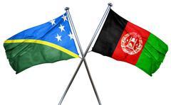Solomon islands flag with Afghanistan flag, 3D rendering Stock Illustration