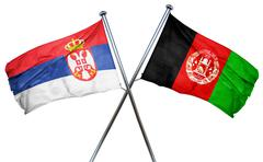 Serbia flag with Afghanistan flag, 3D rendering - stock illustration