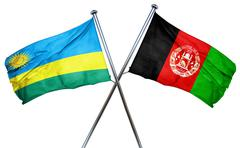 Rwanda flag with Afghanistan flag, 3D rendering - stock illustration