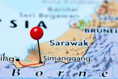 Simanggang pinned on a map of Malaysia Stock Photos