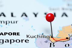 Kuching pinned on a map of Malaysia - stock photo