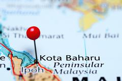Kota Baharu pinned on a map of Malaysia Stock Photos