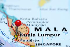 Kuala Lumpur pinned on a map of Malaysia - stock photo