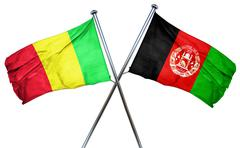 Mali flag with Afghanistan flag, 3D rendering - stock illustration