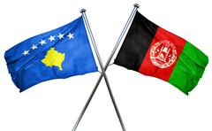 Kosovo flag with Afghanistan flag, 3D rendering Stock Illustration