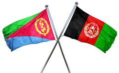 Eritrea flag with Afghanistan flag, 3D rendering Stock Illustration