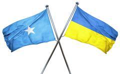 Somalia flag with Ukraine flag, 3D rendering - stock illustration