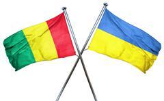Guinea flag with Ukraine flag, 3D rendering Stock Illustration