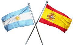 Argentina flag with Spain flag, 3D rendering Stock Illustration