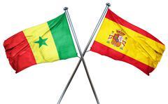 Senegal flag with Spain flag, 3D rendering Stock Illustration