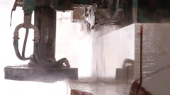 Industrial saw cutting marble stone Stock Footage