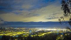 Ecuador. View on Cuenca in night. 4k time lapse. Panaramic - stock footage