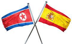 North Korea flag with Spain flag, 3D rendering Stock Illustration