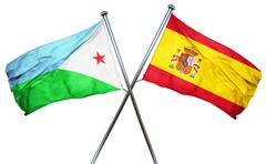 Djibouti flag with Spain flag, 3D rendering - stock illustration